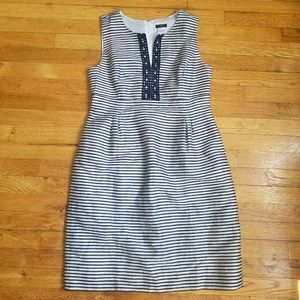 Ann Taylor fitted shift blue & white striped